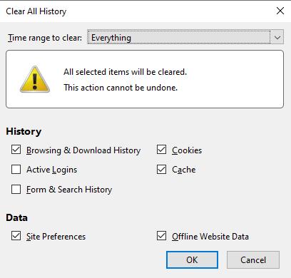 Xóa cache trên trình duyệt Firefox.