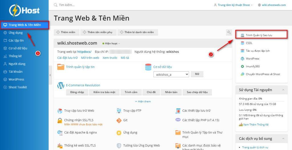 Truy cập trình quản lý sao lưu trên WordPress Hosting.