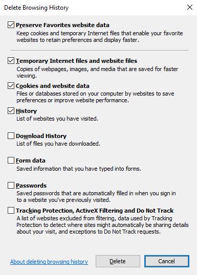 Xóa cache trên trình duyệt Internet Explorer (IE).