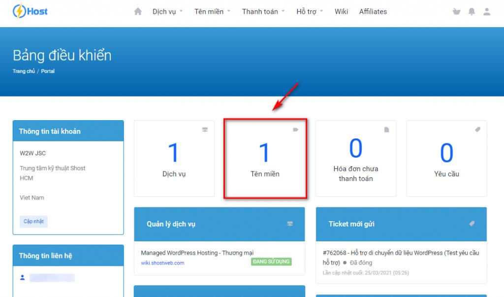 Truy cập mục quản lý tên miền tại trang id.shost.vn.