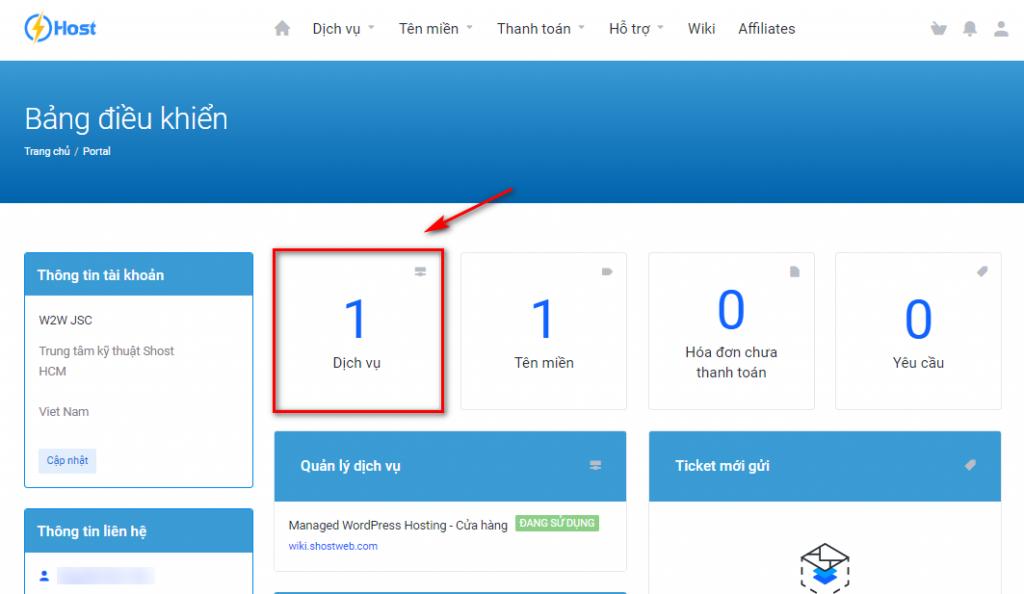 Bảng điều khiển trang quản lý id.shost.vn