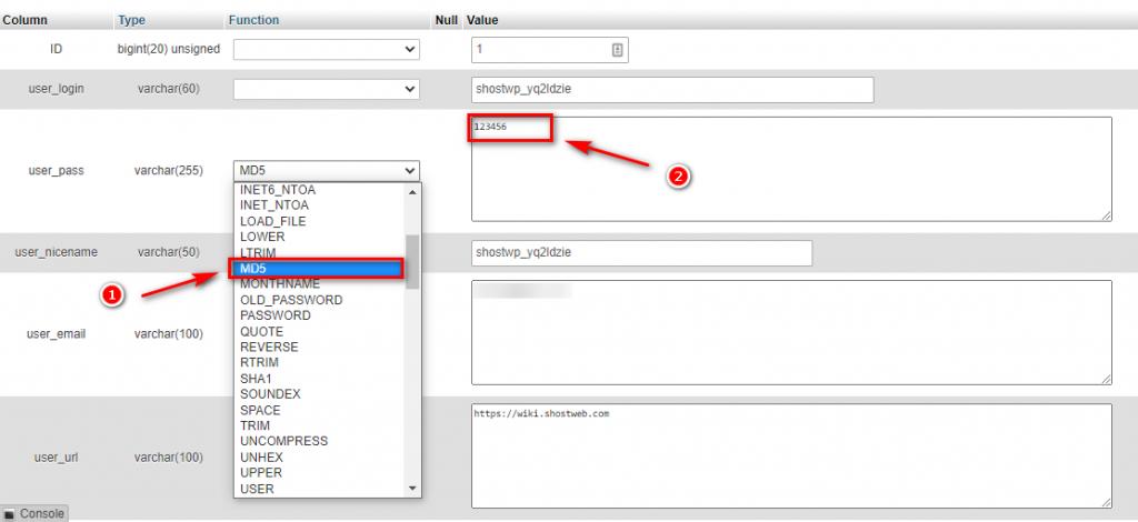 Lây lại mật khẩu WordPress bằng cách chỉnh lại MD5 của mật khẩu.