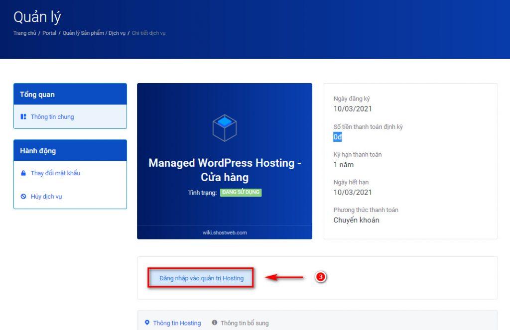 Chi tiết thông tin của dịch vụ hosting.