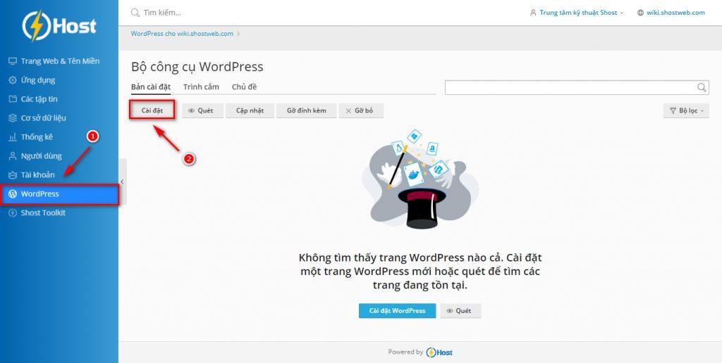 Cài đặt mã nguồn WordPress bằng WordPress Toolkit trên WordPress Hosting.