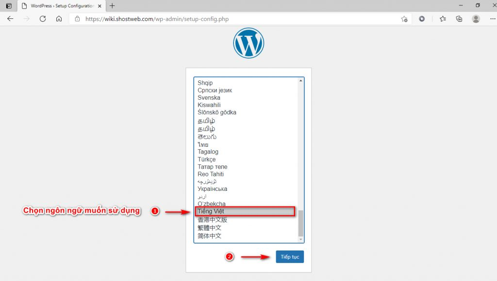 Thiết lập nhanh WordPress 1.