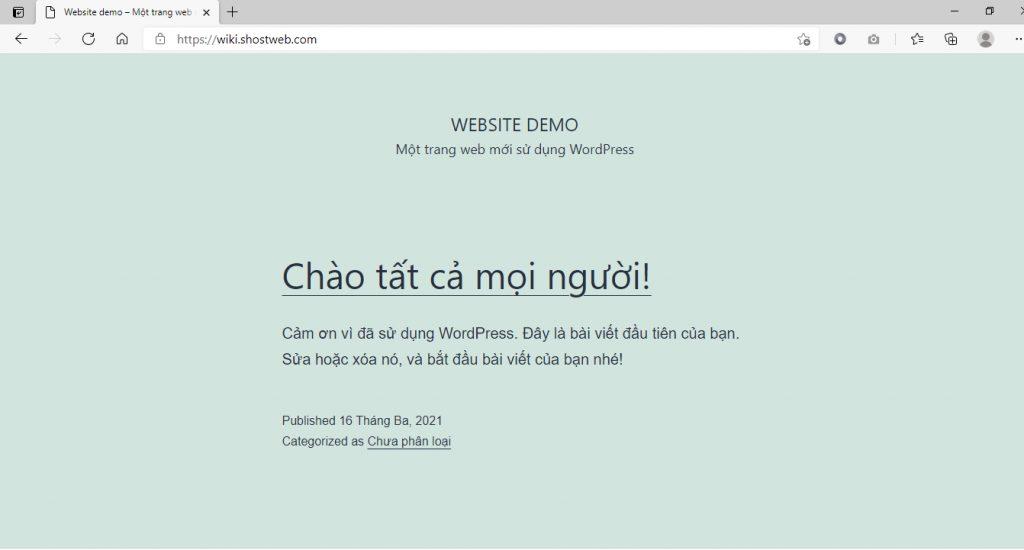 Kiểm tra lại website sau khi hoàn tất.