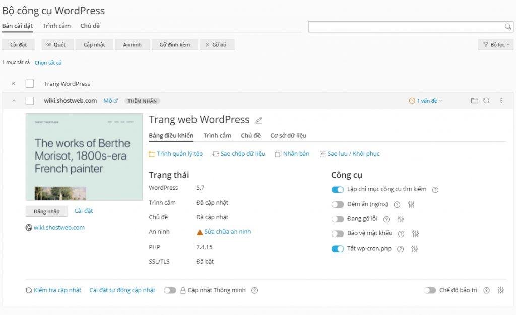 Thông tin sau khi cài đặt xong WordPress mặc định.