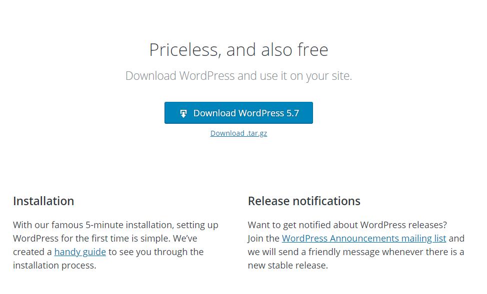 Tải xuống mã nguồn WordPress từ trang chủ WordPress.Org.