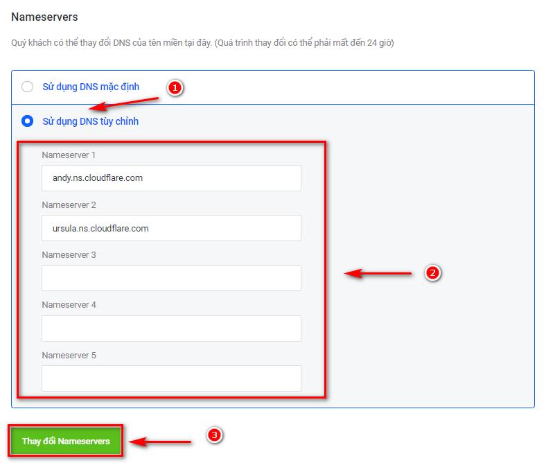 Sử dụng DNS tùy chỉnh để đổi Nameserver.