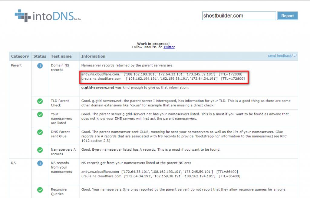 Thông tin Nameserver đã cập nhật thành công.