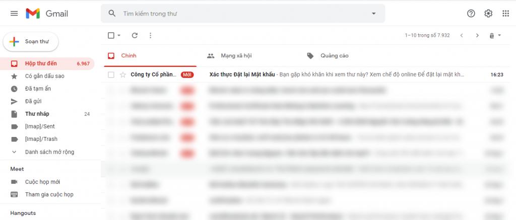 Email xác thực đặt lại mật khẩu được gửi về  email chủ thể.