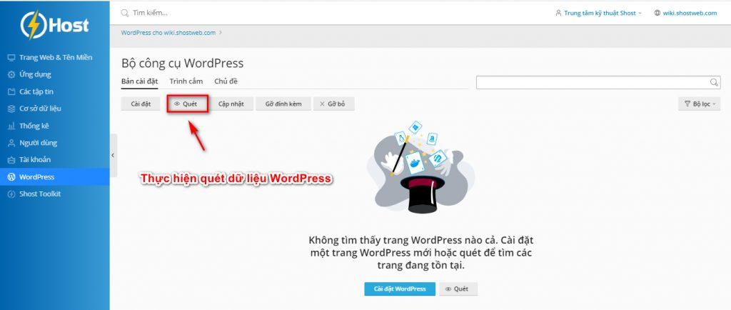 Quét lại dữ liệu WordPress.