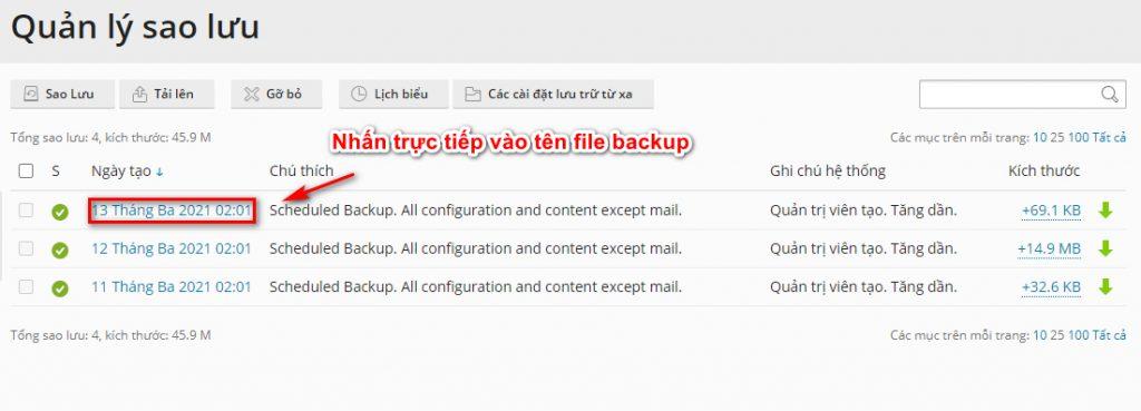 Khôi phục dữ liệu từ bản backup cũ.