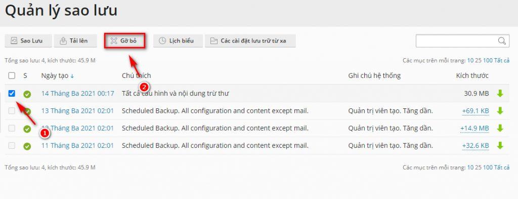 Xóa file backup khỏi hosting.