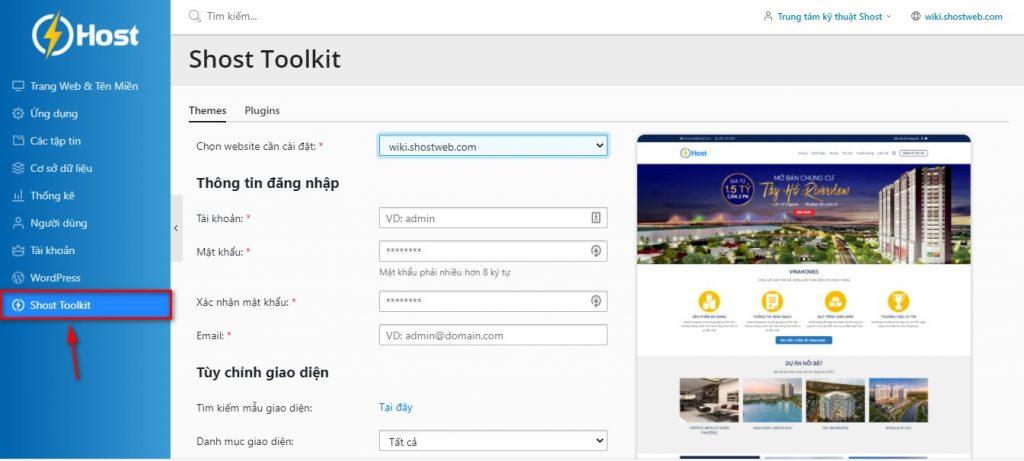 Truy cập công cụ Shost Toolkit để cài đặt giao diện.