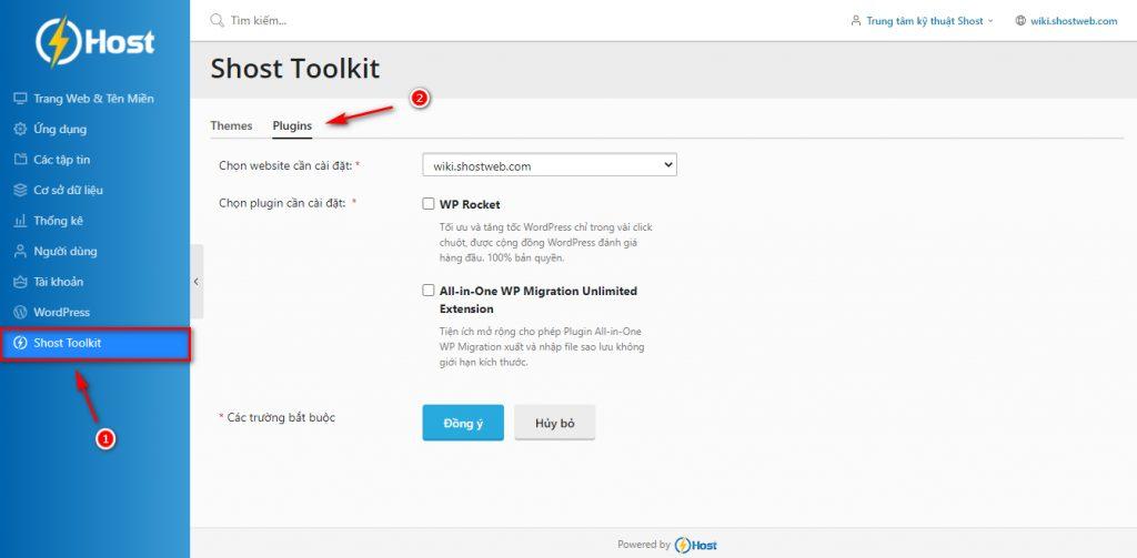 Cài đặt plugin tặng kèm trên Shost Toolkit.