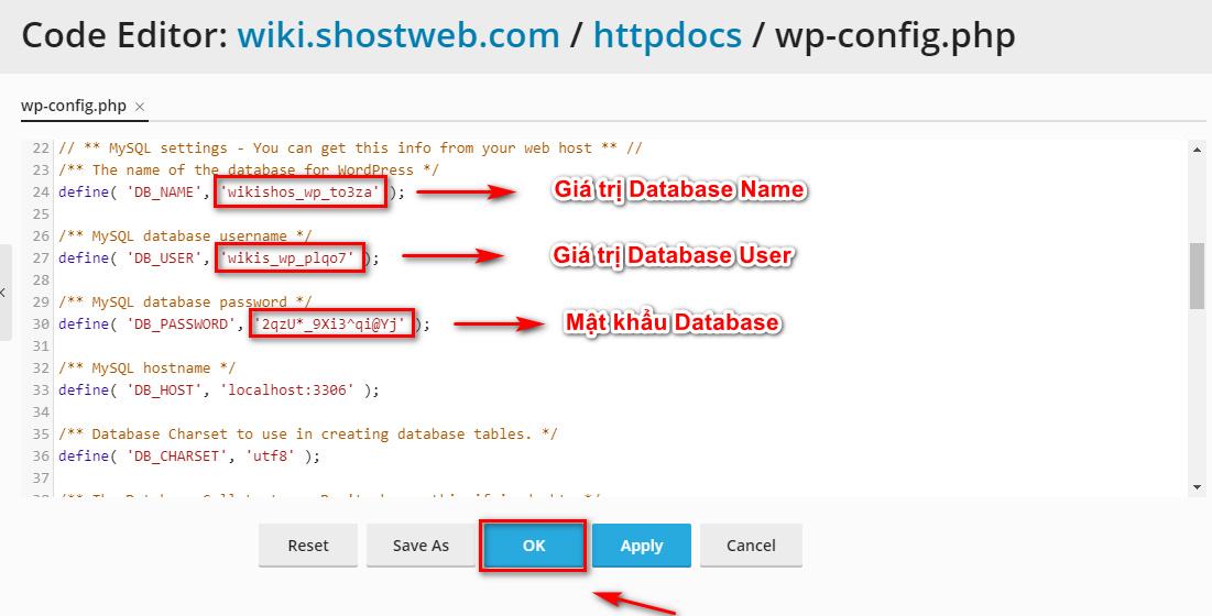 Thay đổi các thông tin kết nối Database trong file wp-config.php