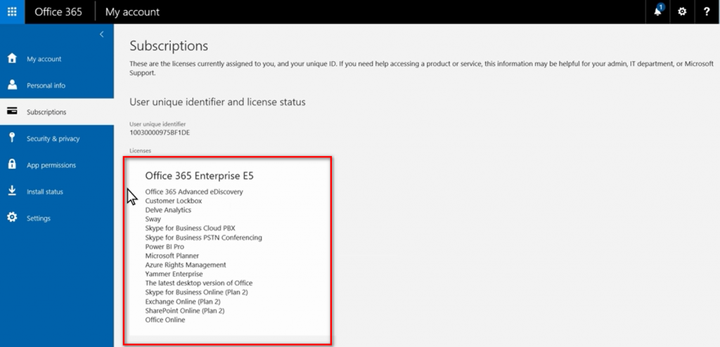 Thông tin giấy phép và các dịch vụ Microsoft Office 365 đang sử dụng.