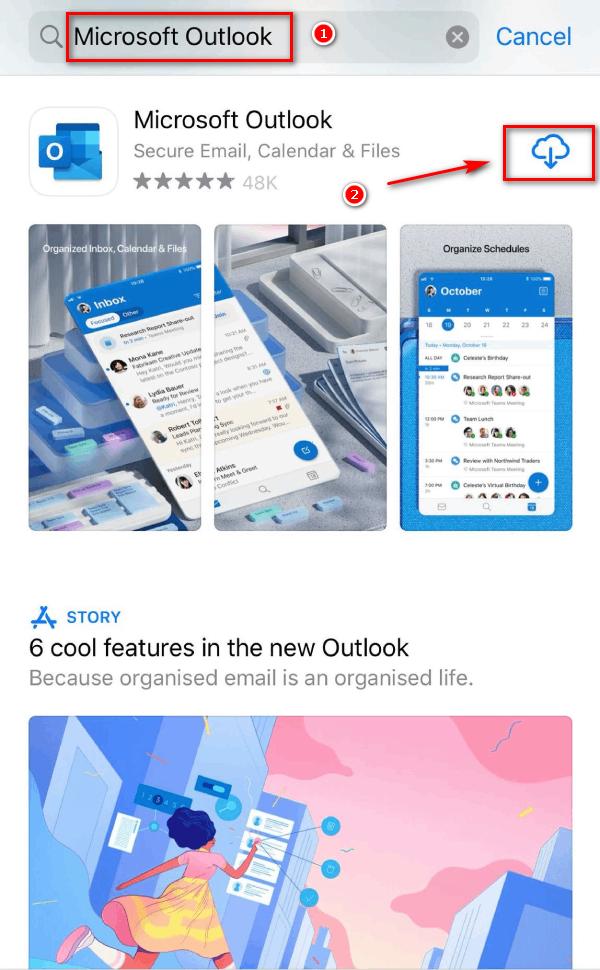 Tìm kiếm và cài đặt Microsoft Outlook trên IOS.