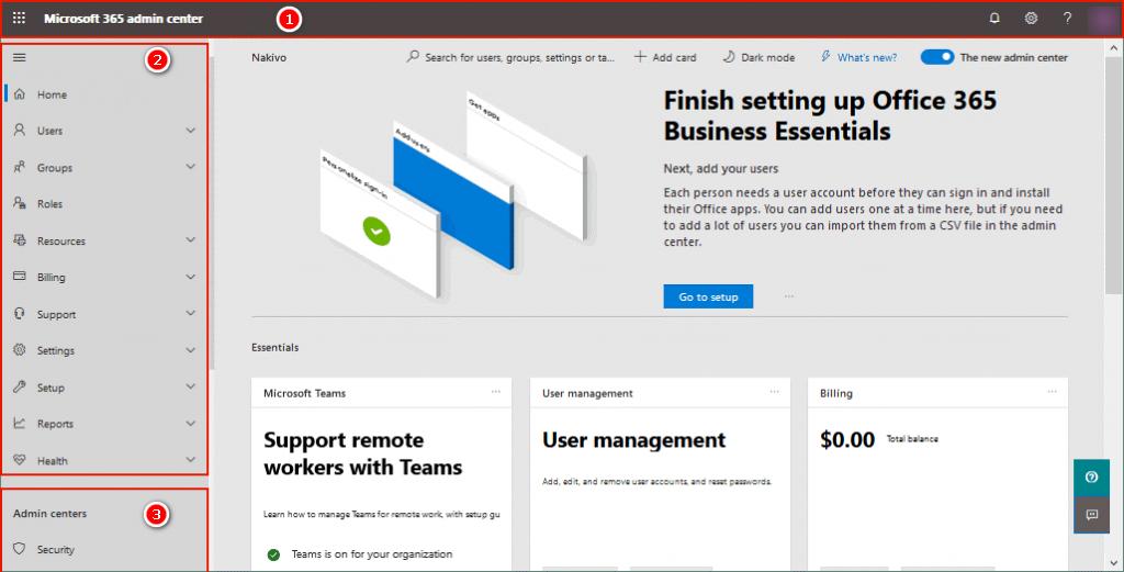 Bảng điều khiển quản trị viên Office 365.