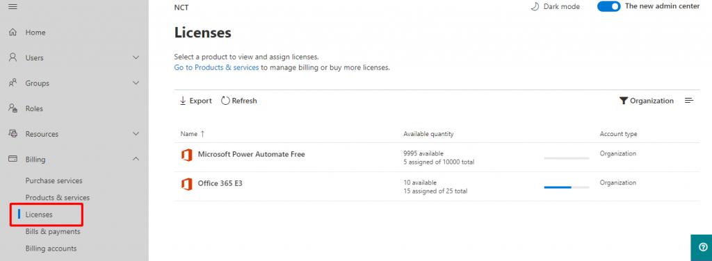 Quản lý thông tin giấy phép sử dụng Office 365.
