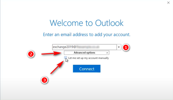 Điền địa chỉ tài khoản Mail Microsoft 365 trên Outlook.