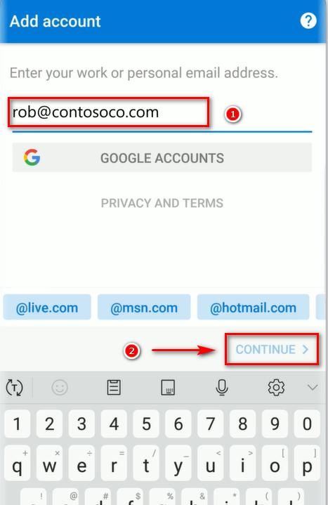 Nhập mật khẩu tài khoản Mail Microsoft Office 365 trên Outlook (Android).