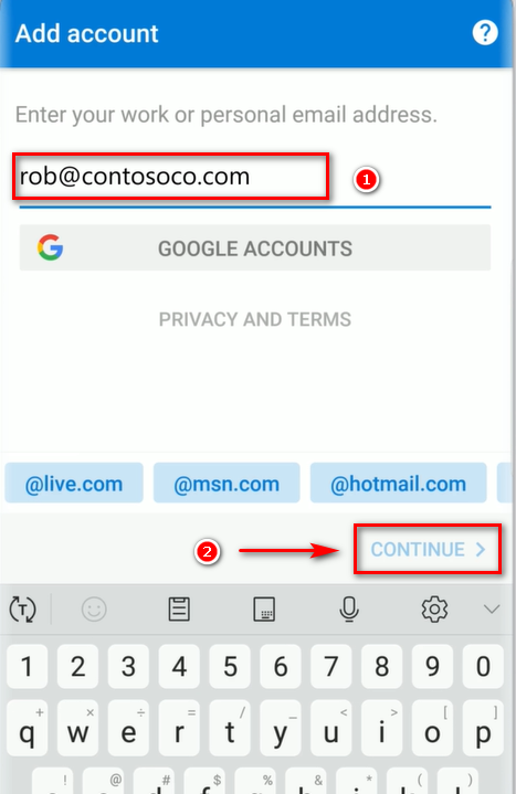 Nhập tài khoản Mail Microsoft Office 365 trên Outlook (Android).