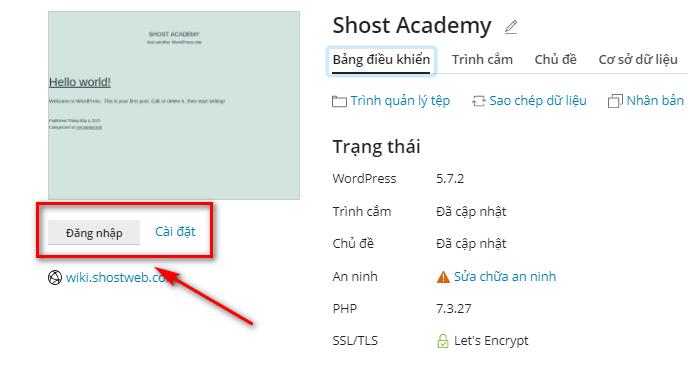 Đăng nhập nhanh vào trang quản trị WordPress.