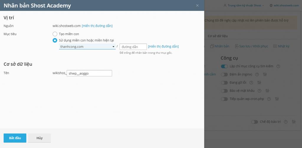 Nhân bản dữ liệu WordPress cho tên miền phụ và tên miền riêng.