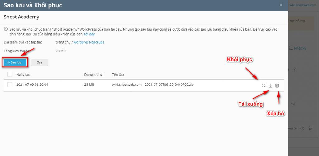 Bảng thiết lập Sao lưu và khôi phục dữ liệu WordPress.