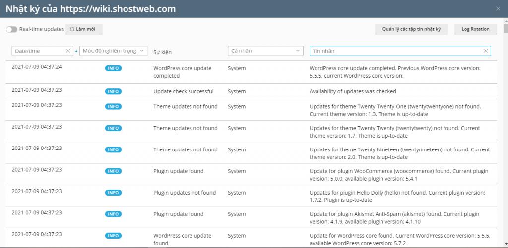 Nhật ký thiết lập WordPress Toolkit 2.