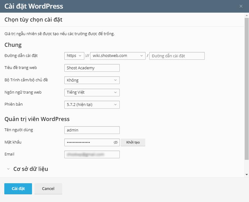 Bảng cài đặt WordPress tự động.